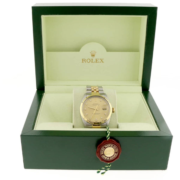 Rolex Datejust 2-Tone Yellow Gold/Steel Original Champagne Diamond Dial 36MM Automatic Jubilee Mens Watch