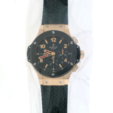 Hublot Big Bang 18K Rose 44MM Ceramic Bezel Black Carbon Dial Chronograph Automatic Mens Watch 301.PB.131.RX