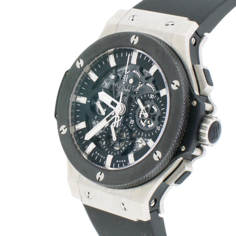 Hublot Big Bang Aero Bang Black Skeleton Dial Ceramic Bezel 44MM Chronograph Automatic Stainless Steel Watch 311.SX.1170.RX w/ Box Papers
