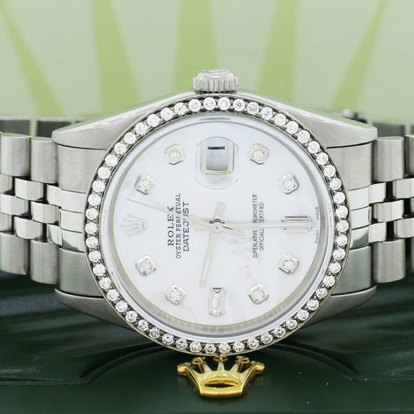 Rolex Datejust 36MM Automatic Stainless Steel Watch w/White MOP Dial & Diamond Bezel