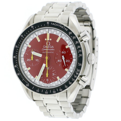 Omega Speedmaster Reduced Michael Schumacher Chronograph Red Dial 36MM Automatic Stainless Steel Mens Watch 3510.61.00