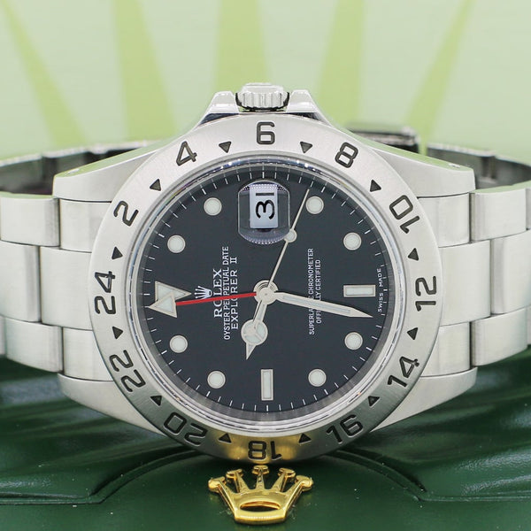 Rolex Explorer II 40MM Black Dial Automatic Stainless Steel Mens Oyster Watch 16570