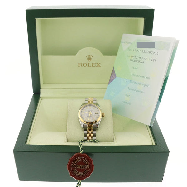 Rolex Datejust Ladies Original Meteorite Diamond Dial 2-Tone 18K Yellow Gold/Stainless Steel 26MM Oyster Watch 179163