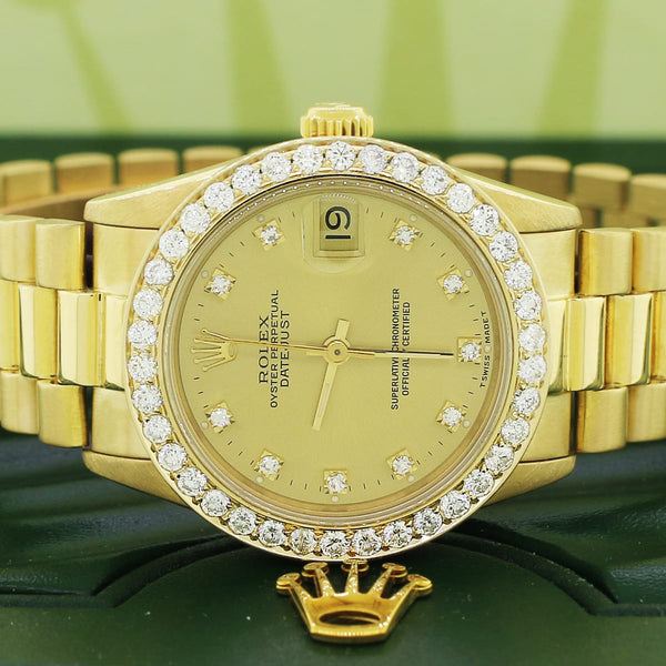 Rolex President Datejust Midsize 31mm 18K Yellow Gold Factory Diamond Dial w/1.52ct Diamond Bezel 68278