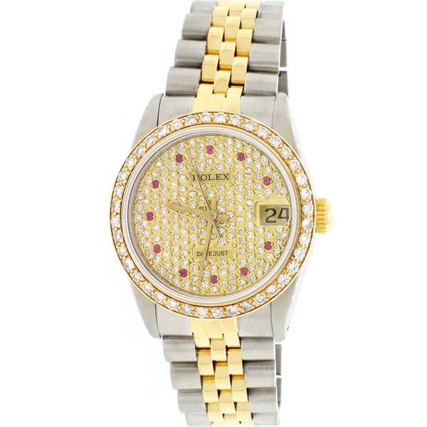 Rolex Datejust Midsize 18K Yellow Gold/Stainless Steel Ladies Watch w/Custom Diamond Bezel/Pave Diamond Dial 68273