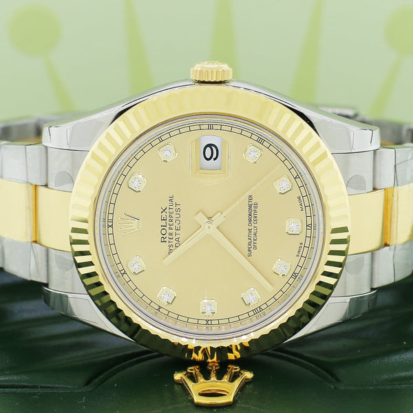 UNWORN Rolex Datejust II 2-Tone18K Yellow Gold & Stainless Factory Champagne Diamond Dial 41MM Automatic Mens Oyster Watch 116333 w/BoxPapers