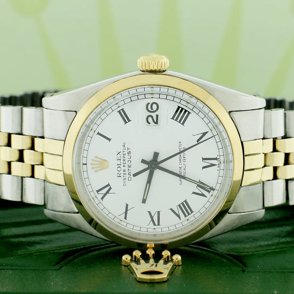 Rolex Datejust 2-Tone Vintage Yellow Gold & Stainless Steel Factory White Dial 36MM Automatic Mens Watch 1603