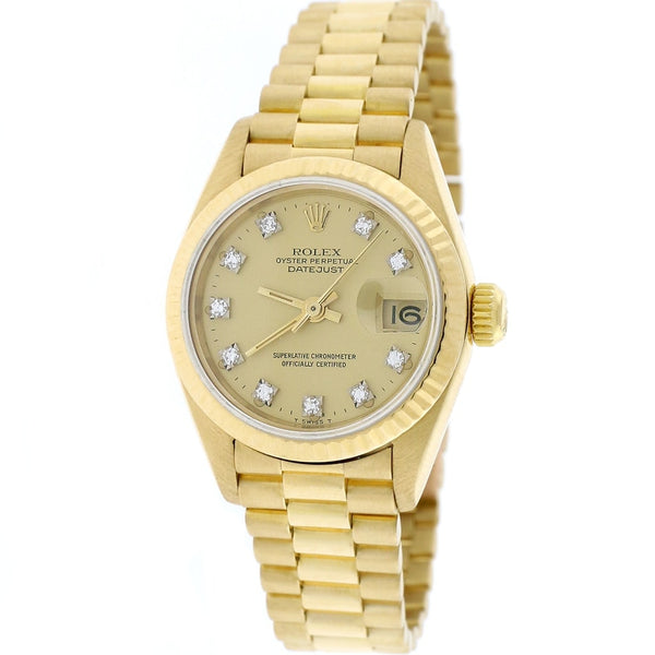 Rolex President Datejust Ladies 18K Yellow Gold 26MM Original Champagne Diamond Dial Automatic Watch 69178