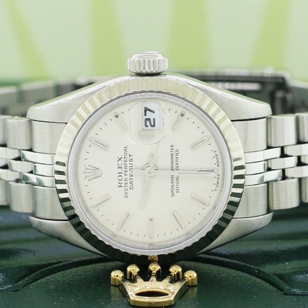 Rolex Datejust 18K White Gold Fluted Bezel 26MM Automatic Stainless Steel Jubilee Watch 69174 No Holes Case