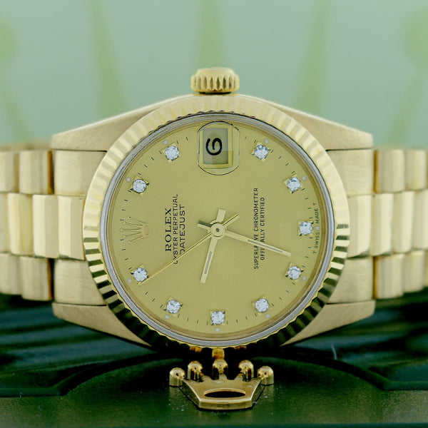 Rolex President Datejust Midsize 18K Yellow Gold Diamond Dial 31MM Automatic Watch 68278