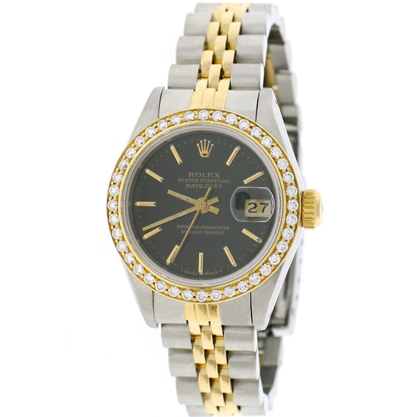 Rolex Datejust Ladies 2-Tone 18K Yellow Gold/Steel 26MM Factory Black Index Dial Jubilee Watch w/Diamond Bezel