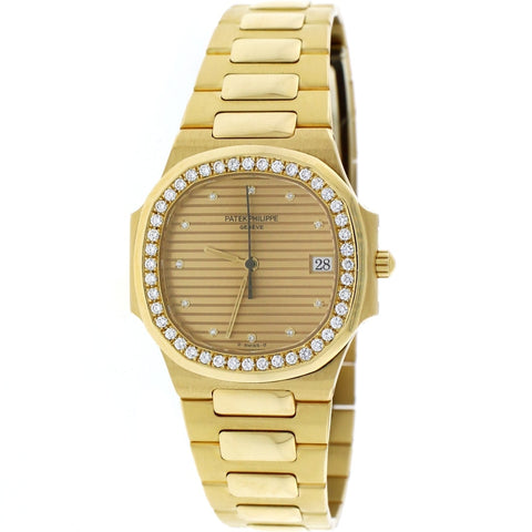 Patek Philippe Nautilus 18K Yellow Gold Factory Champagne Diamond Dial/Bezel 30MM Automatic Ladies Watch 3900/3J