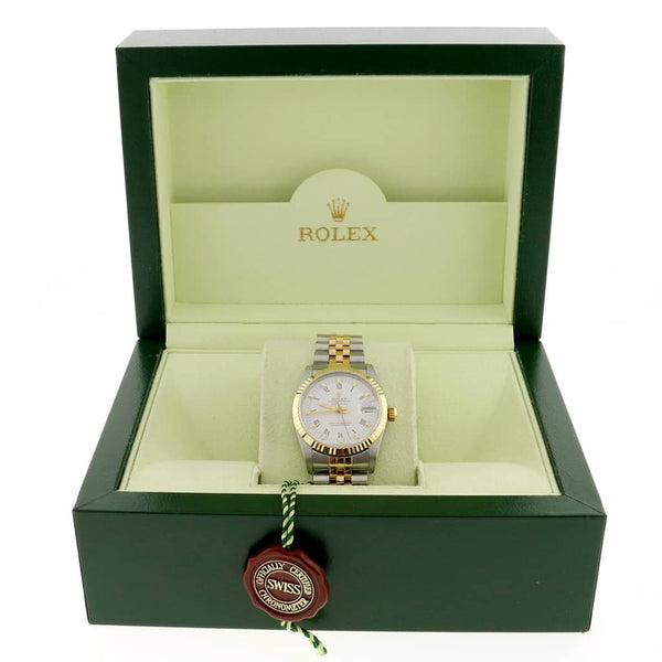 Rolex Datejust 2-Tone Yellow Gold/Stainless Steel Original White Roman Dial 31MM Jubilee Watch 68273