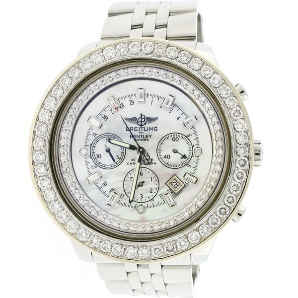 Breitling Bentley Motors Special Edition Chronograph Automatic Mens Watch A25362 w/MOP Diamond Dial & Bezel