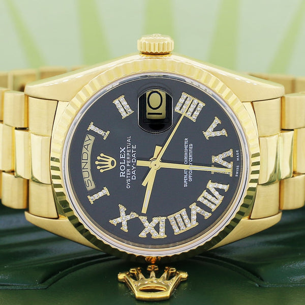 Rolex President Day-Date 18K Yellow Gold 36MM Fluted Bezel Automatic Mens Watch w/Black Roman Diamond Dial