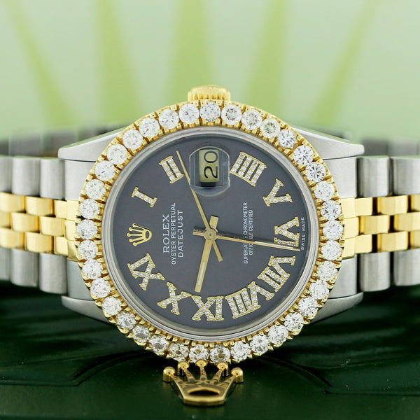 Rolex Datejust 2-Tone 18K Gold/SS 36mm Automatic Jubilee Watch w/Black Roman Diamond Dial & 2.90Ct Bezel