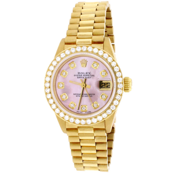 Rolex President Datejust Ladies 18K Yellow Gold 26MM Automatic Watch w/Pink MOP Diamond Dial & Bezel