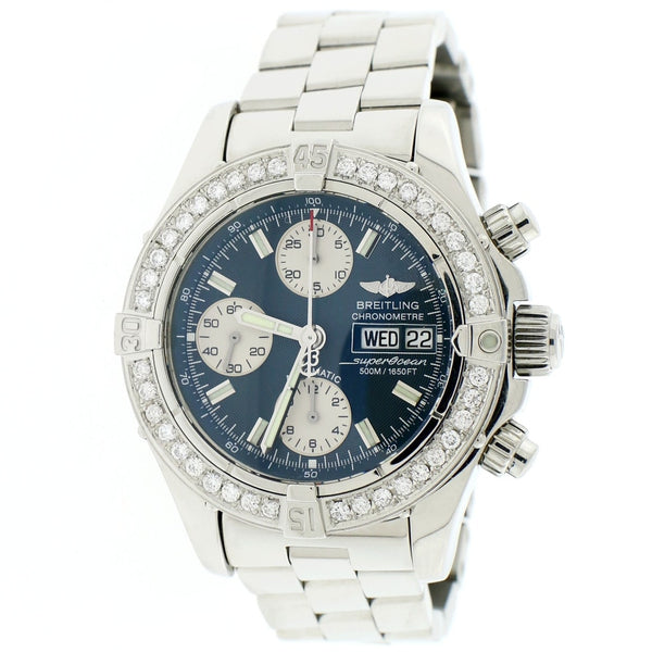 Breitling Chrono SuperOcean Day Date Blue Concentric Dial 42MM Automatic Stainless Steel Mens Watch A13340 w/Diamond Bezel