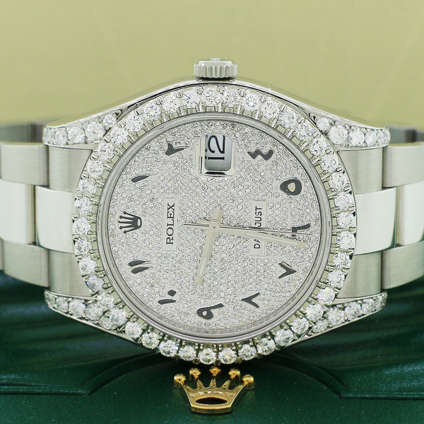 Rolex Datejust II Pave Dial 41mm Steel Watch 116300 w/5.57 Diamonds Box & Papers