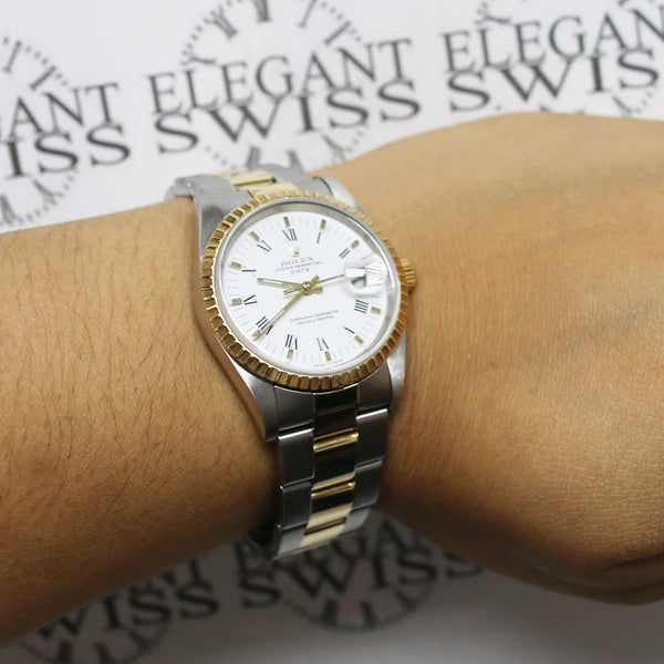 Rolex Oyster Perpetual Date 2-Tone 18K Yellow Gold/Stainless Steel 34MM Factory White Roman Dial Watch 15223
