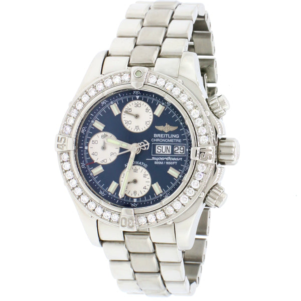 Breitling Chrono SuperOcean Day-Date Blue Concentric Dial 42MM Automatic Stainless Steel Mens Watch A13340 w/Diamond Bezel