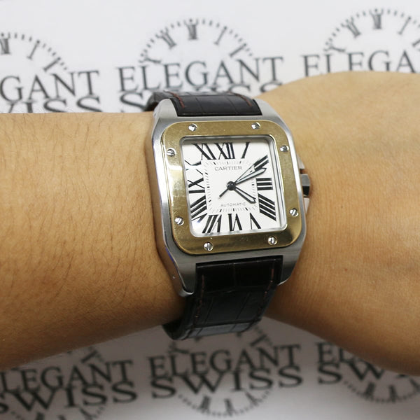 Cartier Santos 100 Large 2-Tone 18K Yellow Gold/Stainless Steel Factory Roman Dial Automatic Mens Watch W20072X7