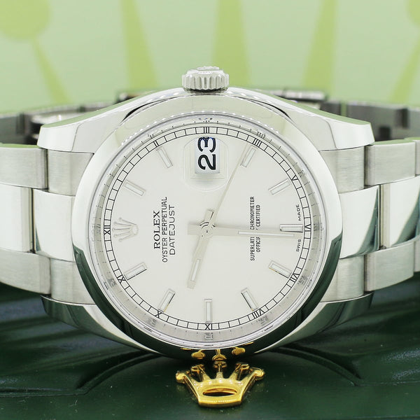 Rolex Datejust Silver Index Dial 36MM Smooth Domed Bezel Stainless Steel Automatic Oyster Mens Watch 116200