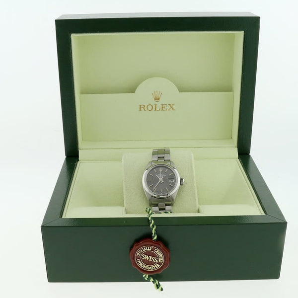 Rolex Date Ladies 26MM Original Rhodium Index Dial Automatic Stainless Steel Oyster Watch