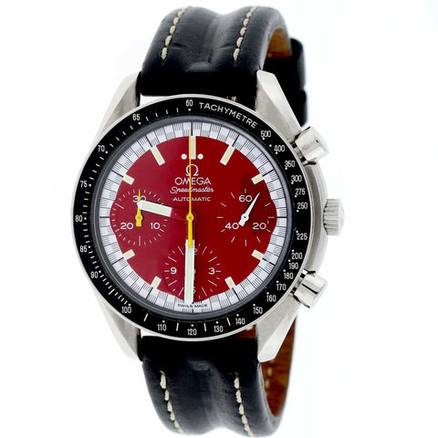 Omega Speedmaster Chronograph Michael Schumacher Red Dial 36MM Automatic Stainless Steel Mens Watch 351012