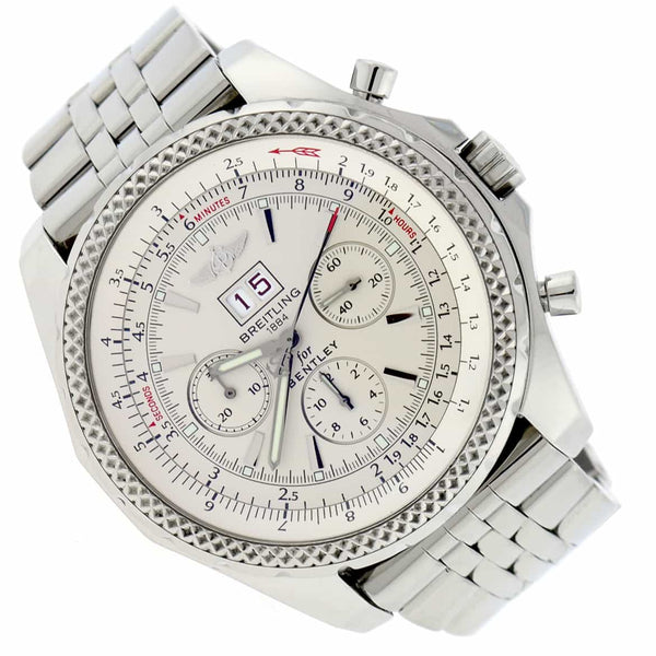 Breitling Bentley 6.75 Chronograph Ivory Dial Big Date 49MM Automatic Stainless Steel Mens Watch A44362
