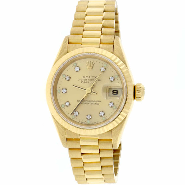 Rolex President Datejust Ladies 18K Yellow Gold Fluted Bezel 26MM Watch w/Diamond Dial 79178