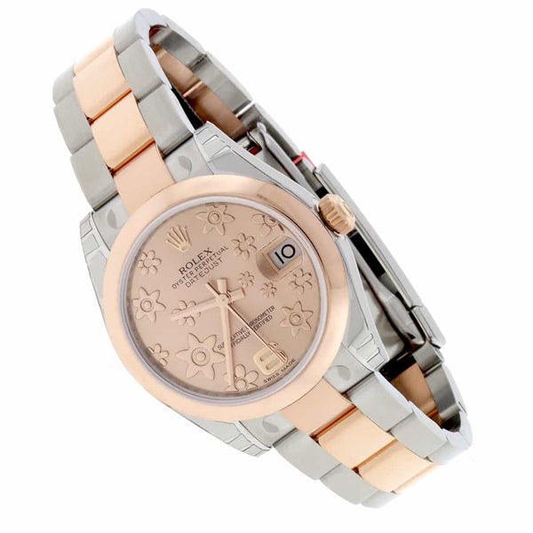 Rolex Datejust Midsize 2-Tone 18K Rose Gold & Stainless Steel Original Floral Motif Dial 31MM Automatic Watch 178241