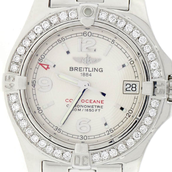 Breitling Colt Oceane Stainless Steel 33MM Silver Dial Ladies Watch A77380 w/Diamond Bezel
