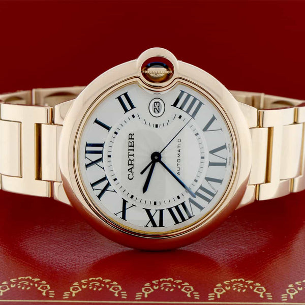 Cartier Ballon Bleu Large 18K Rose Gold 42mm Automatic Watch W69006Z2 Box Papers