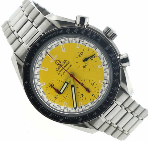 Omega Speedmaster Chronograph Michael Schumacher Yellow Dial 39MM Automatic Stainless Steel Mens Watch 351012