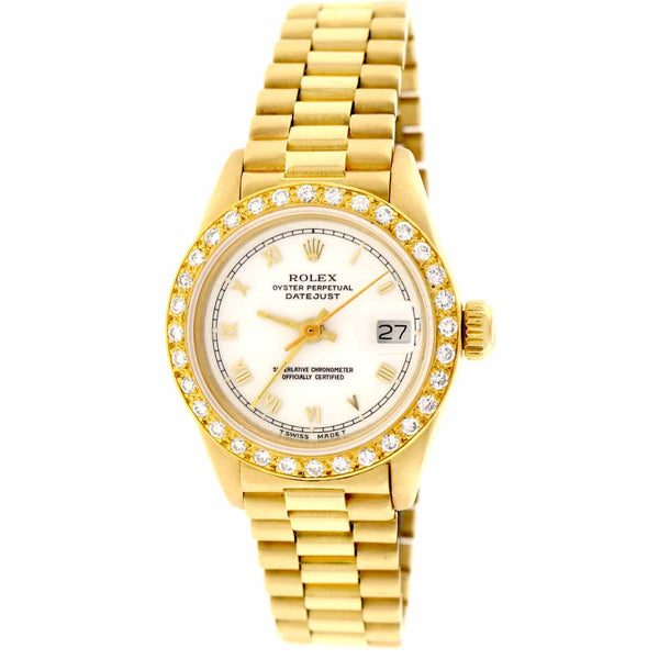 Rolex President Ladies 18K Yellow Gold Original White Roman Dial 26MM Automatic Watch with Diamond Bezel