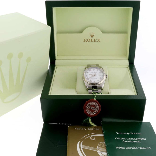 Rolex Datejust White Roman Dial 36MM White Gold Bezel Automatic Steel Oyster Watch 116234