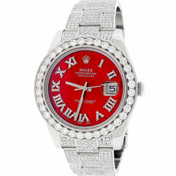 Rolex Datejust II 41MM Stainless Steel Automatic Oyster Mens Watch w/Imperial Red MOP Diamond Dial, Bezel, & Bracelet 116300