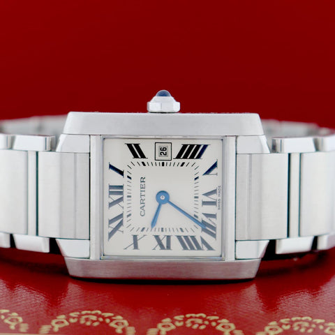 Cartier Tank Francaise 25MM Silver Roman Dial Stainless Steel Watch 2465