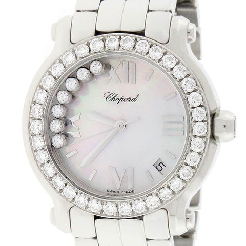 Chopard Happy Sport Medium Mother of Pearl Diamond Dial 36MM Stainless Steel Watch 278477-3008 w/Diamond Bezel