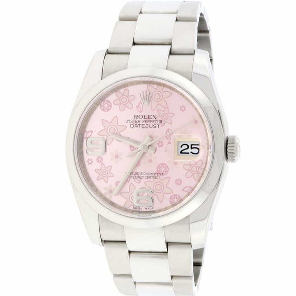 Rolex Datejust 36MM Original Pink Floral Dial Automatic Stainless Steel Oyster Womens Watch 116200