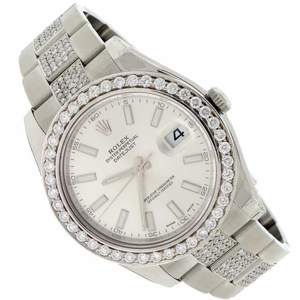 Rolex Datejust II 41MM Automatic Stainless Steel Mens Watch w/6.1ct Diamond Bezel & Bracelet 116300
