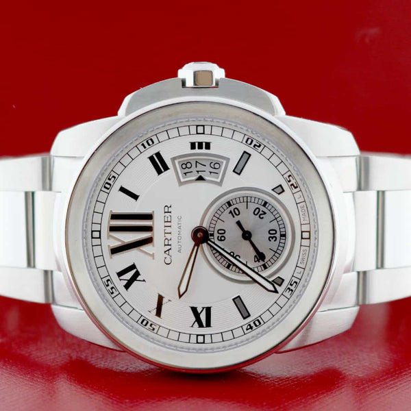 Cartier Calibre 42MM Silver Roman Dial Automatic Stainless Steel Mens Watch W7100015