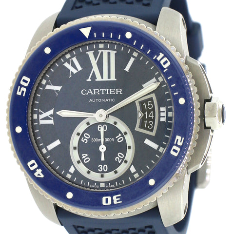 Calibre de Cartier 42 mm Diver Watch/Blue Roman Dial/Blue Rubber Strap/Box&Papers/WSCA0011