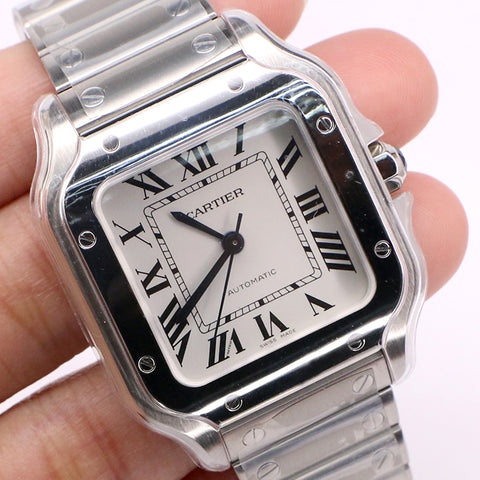 Cartier Santos Midsize 35mm Unworn Watch with Silver Roman Dial/Box/Papers WSSA0010