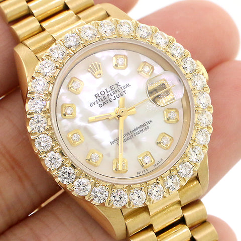 Rolex President Datejust 26mm Yellow Gold Watch with 2CT Diamond Bezel/White MOP Diamond Dial