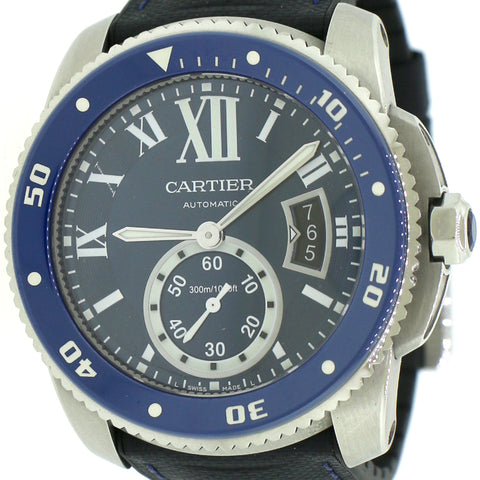 Calibre de Cartier 42 mm Diver Watch/Blue Roman Dial/Blue Calfskin And Rubber Strap/Box&Papers/WSCA0010
