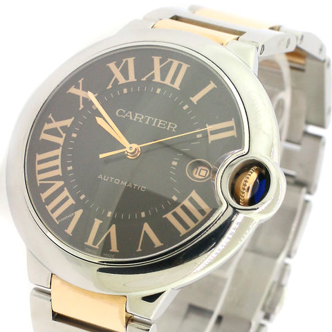 Cartier Ballon Bleu 42mm 2-Tone Rose Gold/Steel Watch/Chocolate Roman Dial/Box/Booklet