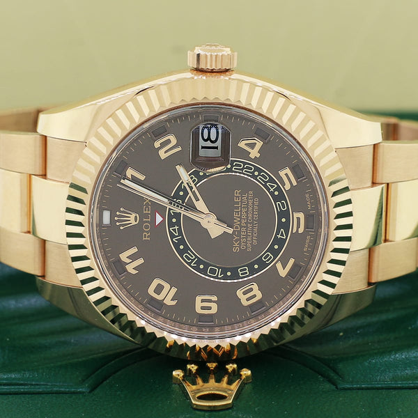 Rolex Sky-Dweller 18K Rose Gold Chocolate Dial 42mm Automatic Mens Watch 326935 Box & Papers