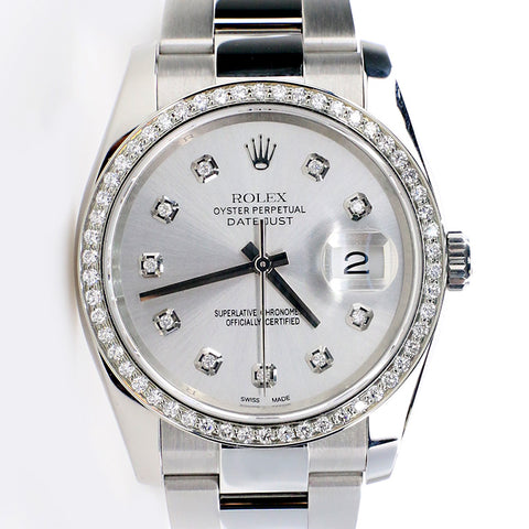 Rolex Datejust 36MM Steel Oyster Watch with Custom Diamond Bezel/Silver Diamond Dial/116200
